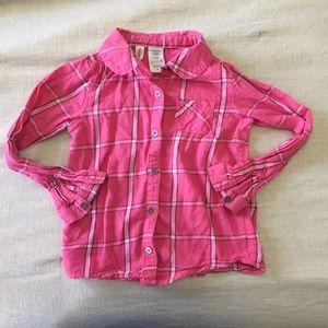 Toughskins pink plaid button down girls 3T